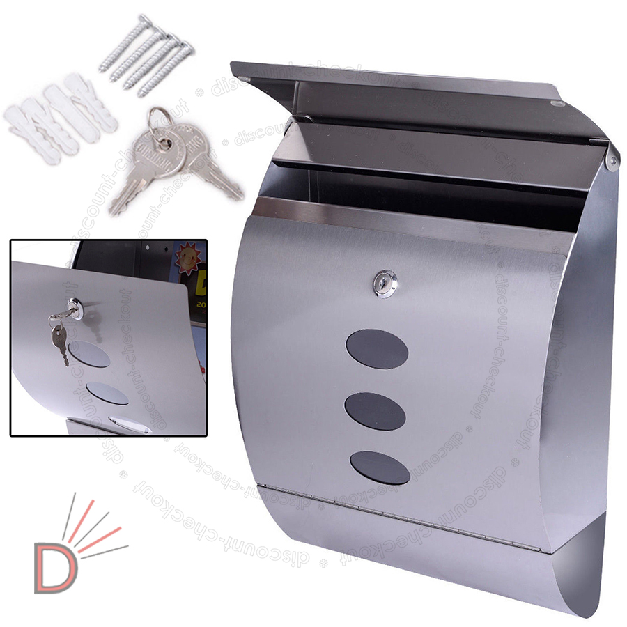 New Lockable White Black Stainless Steel Letterbox Mailbox