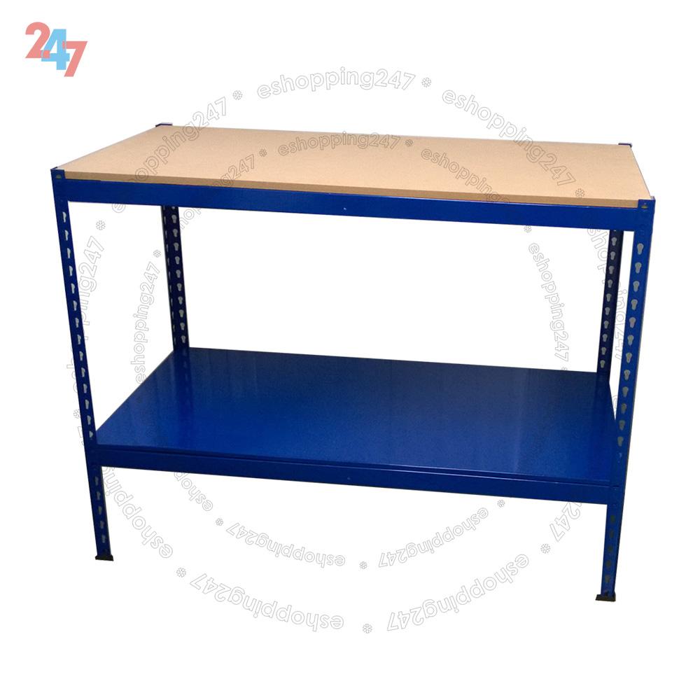 Blue Heavy Duty Steel Work Bench Station Wood Shelves For Garage Warehouse Shed Ebay