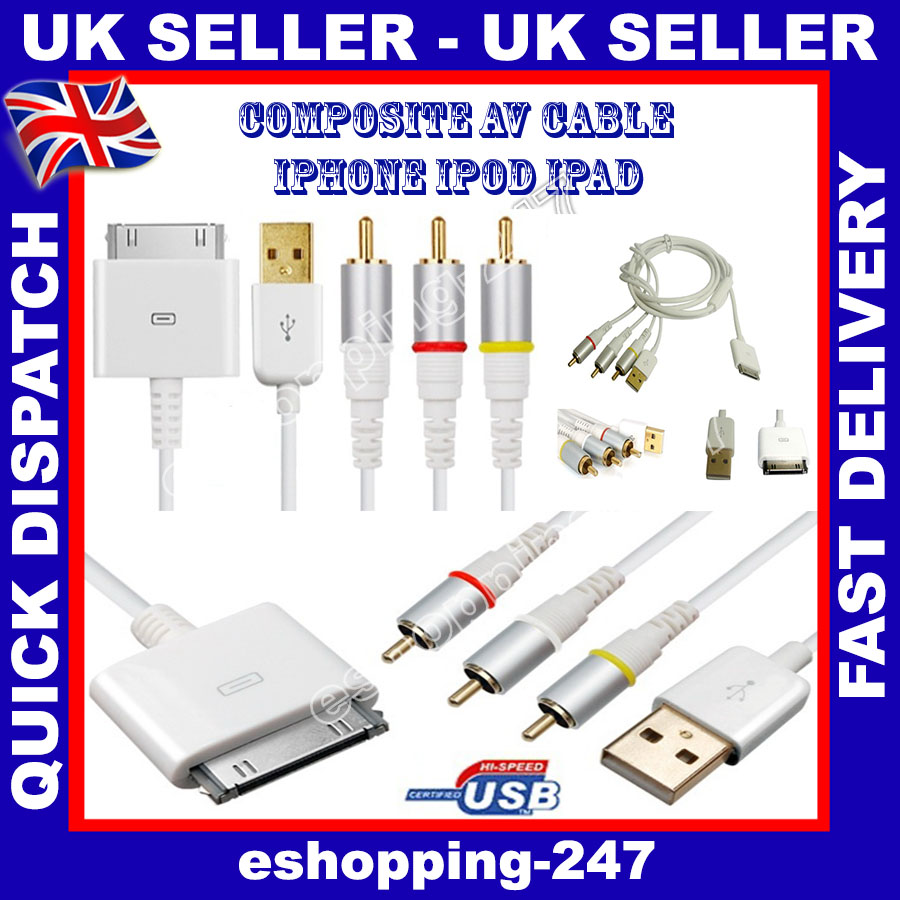 RCA Composite Audio Video to TV USB Charger White Cable for iPhone 3/4 Ipad  2/3 | eBay