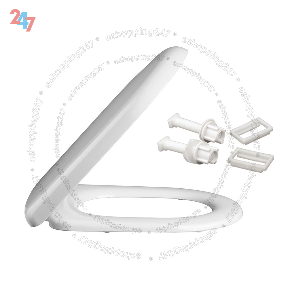 Luxury D Shape Soft Close White Toilet Seat With Plastic Fitting Hinges S247