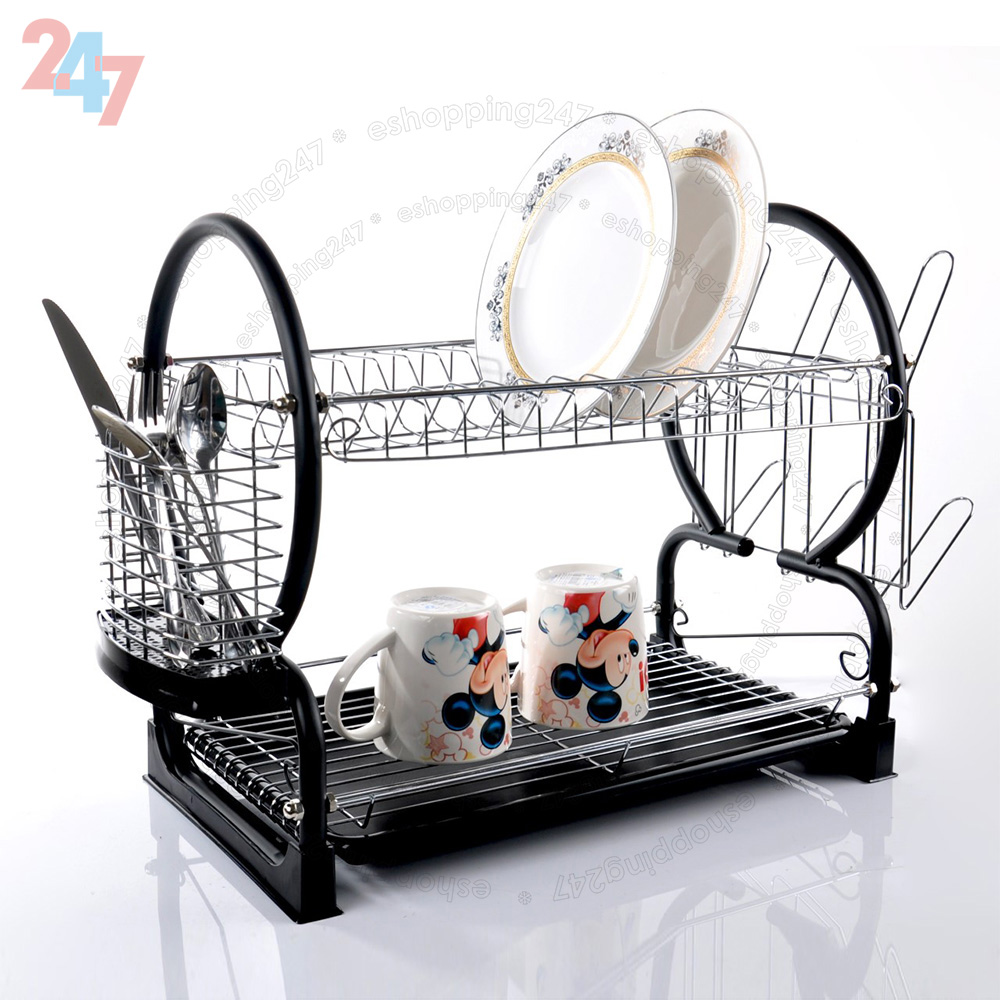 2 Tier Chrome Plate Dish Cutlery Cup Drainer Rack Drip