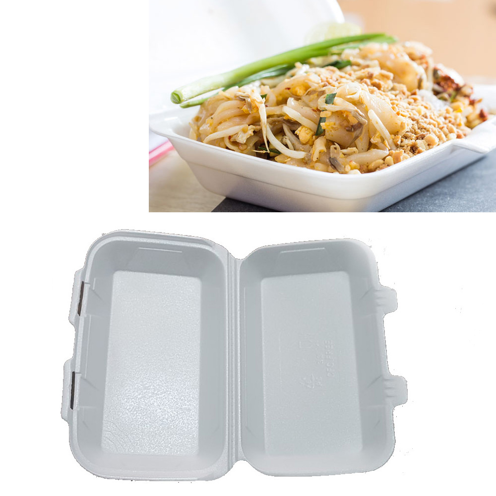 250X Medium HB9 Polystyrene Foam Food Containers Takeaway Box Hinged lid BBQ