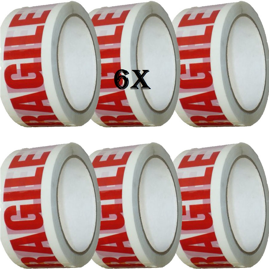 6 Xtape Rolls Of Fragile Strong Parcel Tape Packing