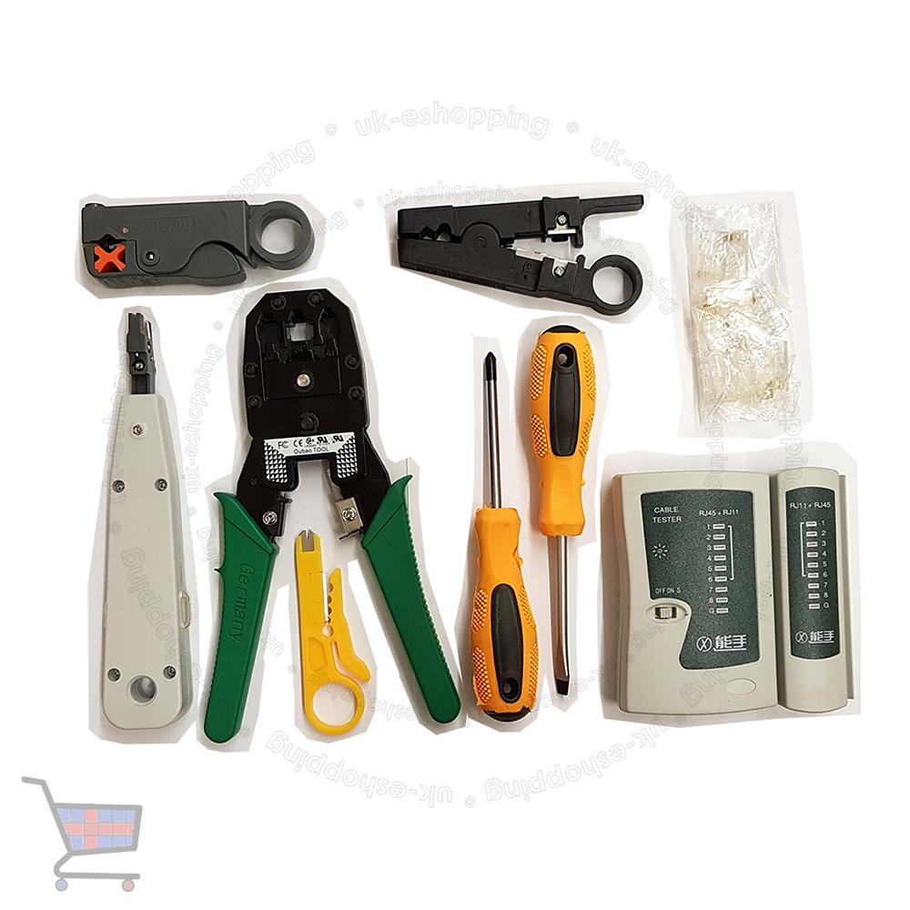 rj11 rj45 lan crimper network ethernet hand tools kit cable tester crimp ukes ebay. Black Bedroom Furniture Sets. Home Design Ideas
