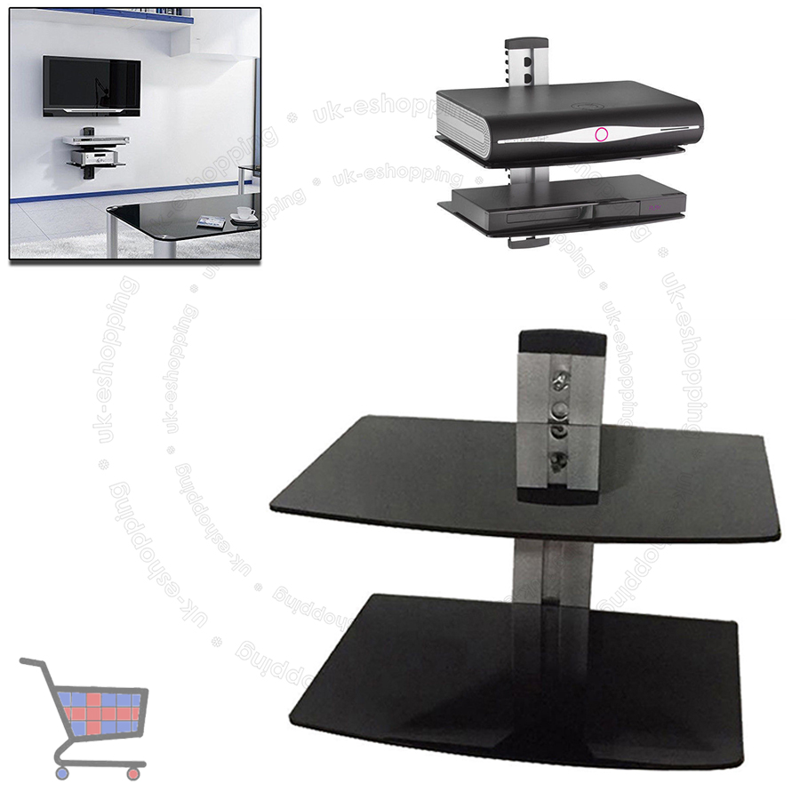 Glass Lcd Led Tv Wall Mount Bracket 2 Shelves For Dvd Sky Box Game Consoles Ebay