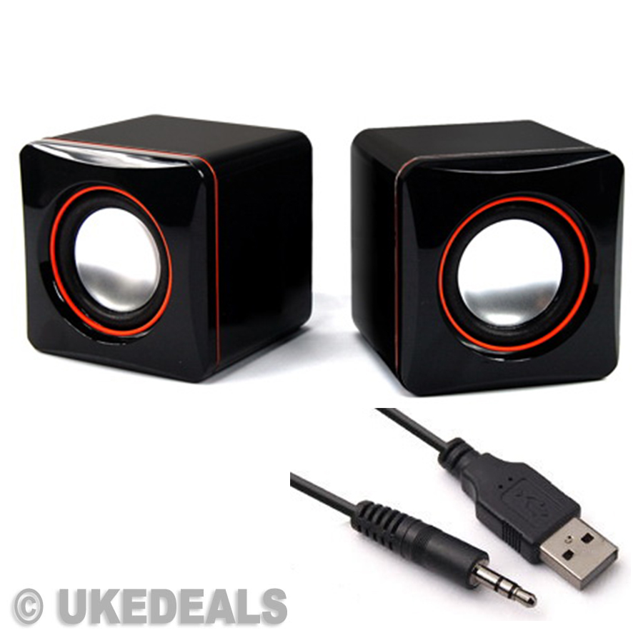 black usb speaker s portable computer laptop speakers multimedia desktop pc new ebay. Black Bedroom Furniture Sets. Home Design Ideas